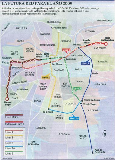 La red dem metro para el 2009