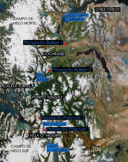 Proyecto 4 Centrales. Fuente: Google Earth intervenida por A Len