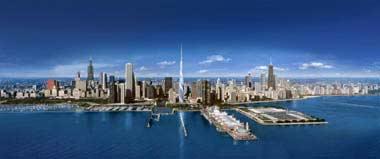 Skyline de chicago con torre de Calatrava