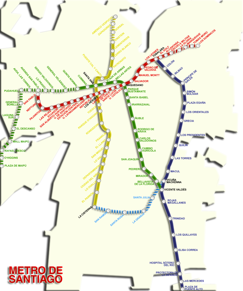 Trazado metro de Santiago 2009. Gentileza UDP
