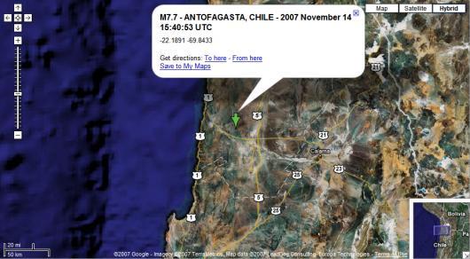 Imagen del epicentro vía GoogleMaps
