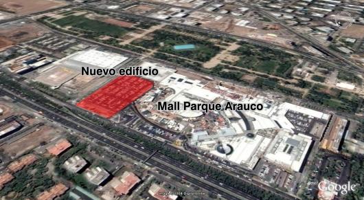 Infografía terreno nuevo rascacielo Parque Arauco