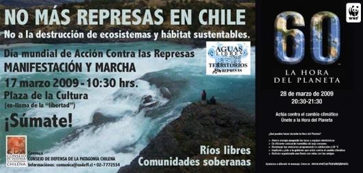 afiches Día Mundial sin Represas y La hora del Planeta