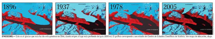 Glaciar OHiggins; gráfico Centro de Estudios Científicos de Valdivia