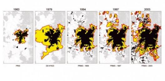 Crecimiento de Santiago desde 1960. Fuente: PODUJE, Ivn. El globo y el Acorden: Planificacin Urbana en Santiago