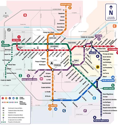 Presidenta anuncia l nea 6 del metro plataforma urbana for Calles de santiago de chile
