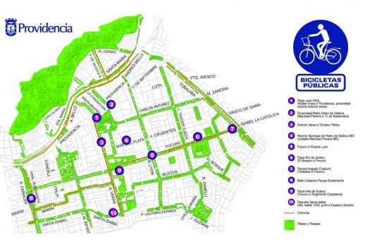 Plano estaciones, áreas verdes y ciclovías en Providencia