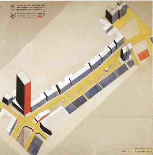 Cornelis van Eesteren, axonométrica propuesta para concurso área Rokin, Amterdam 1924