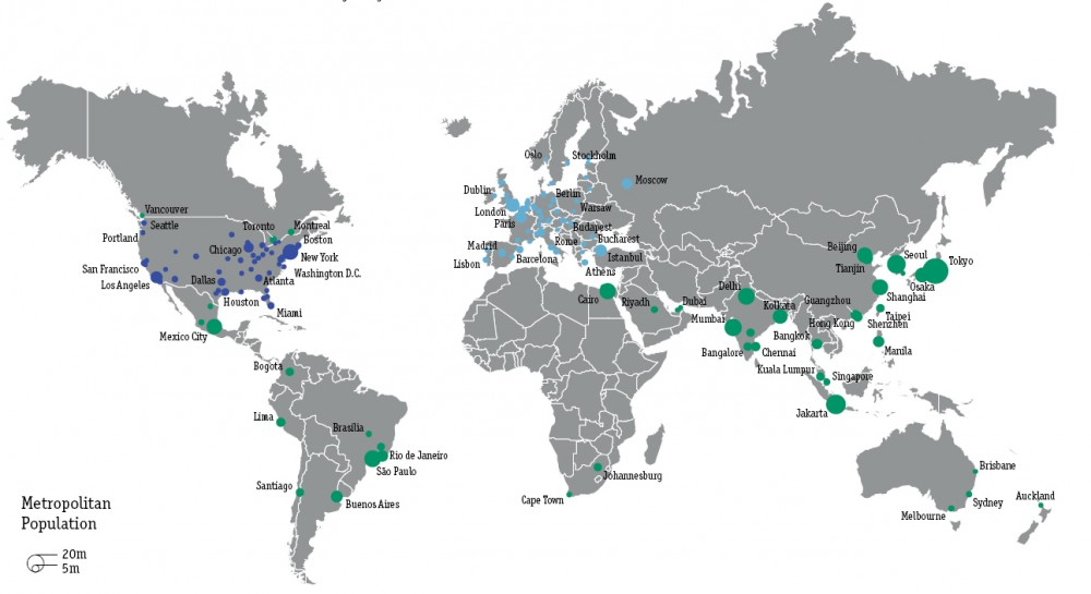 150 áreas metropolitanas analizadas por Global Metro Monitor.