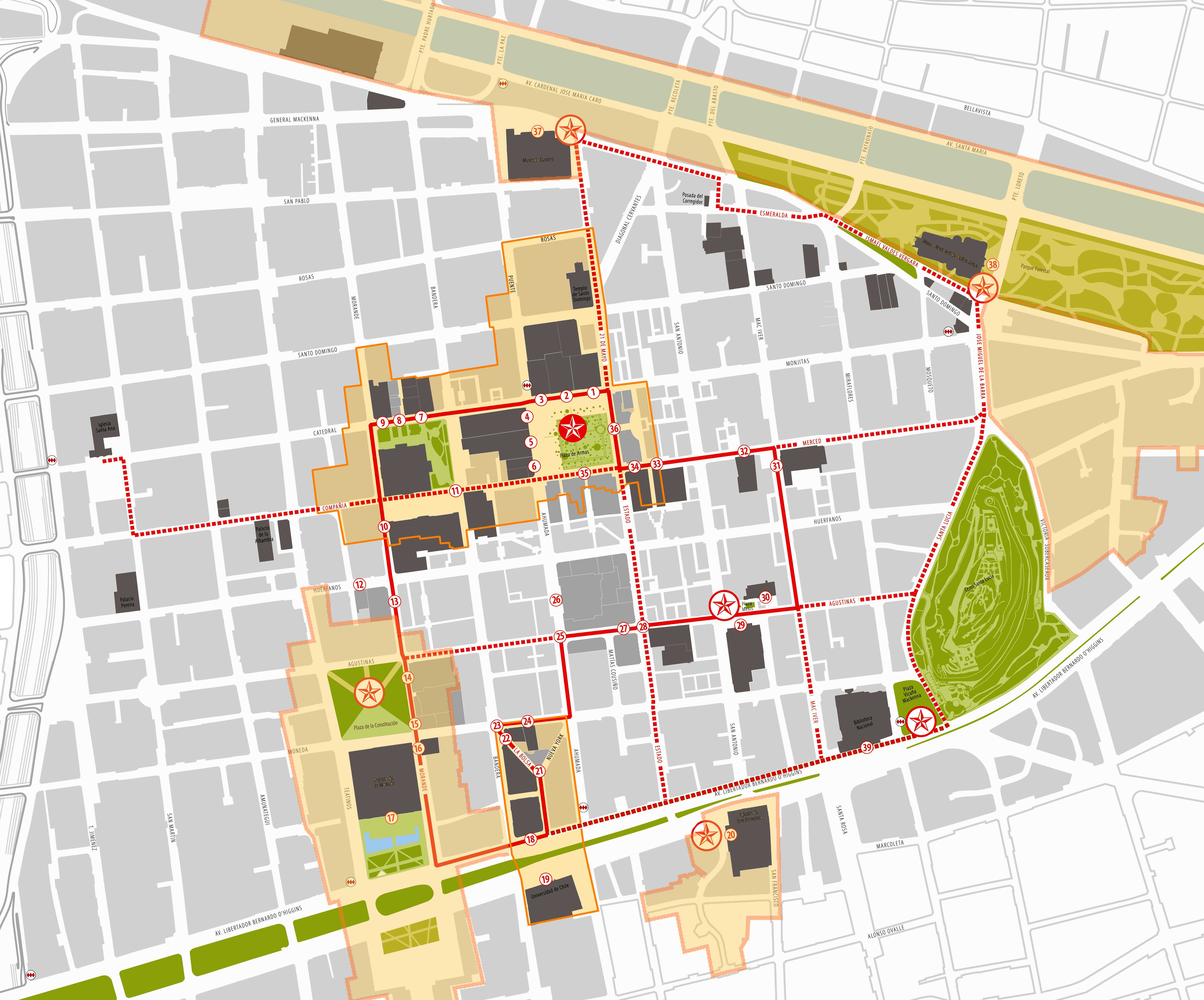 Mapa De Las Calles Del Centro De Santiago De Chile