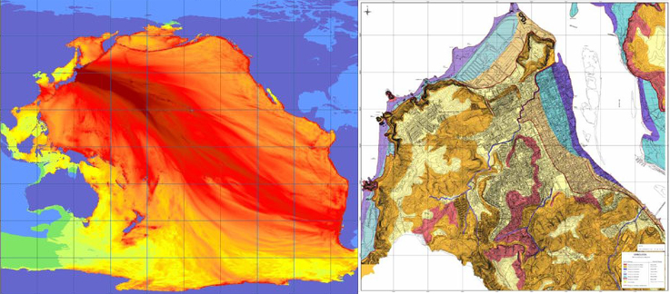 NORA Tsunami propagation forecast 2011 Japan + PRES Constitución