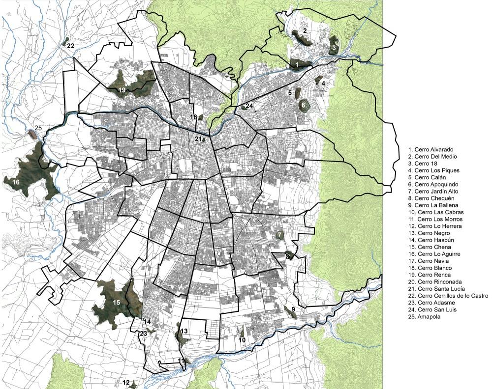 © Santiago Cerros Isla. Mapa de los cerros en la capital