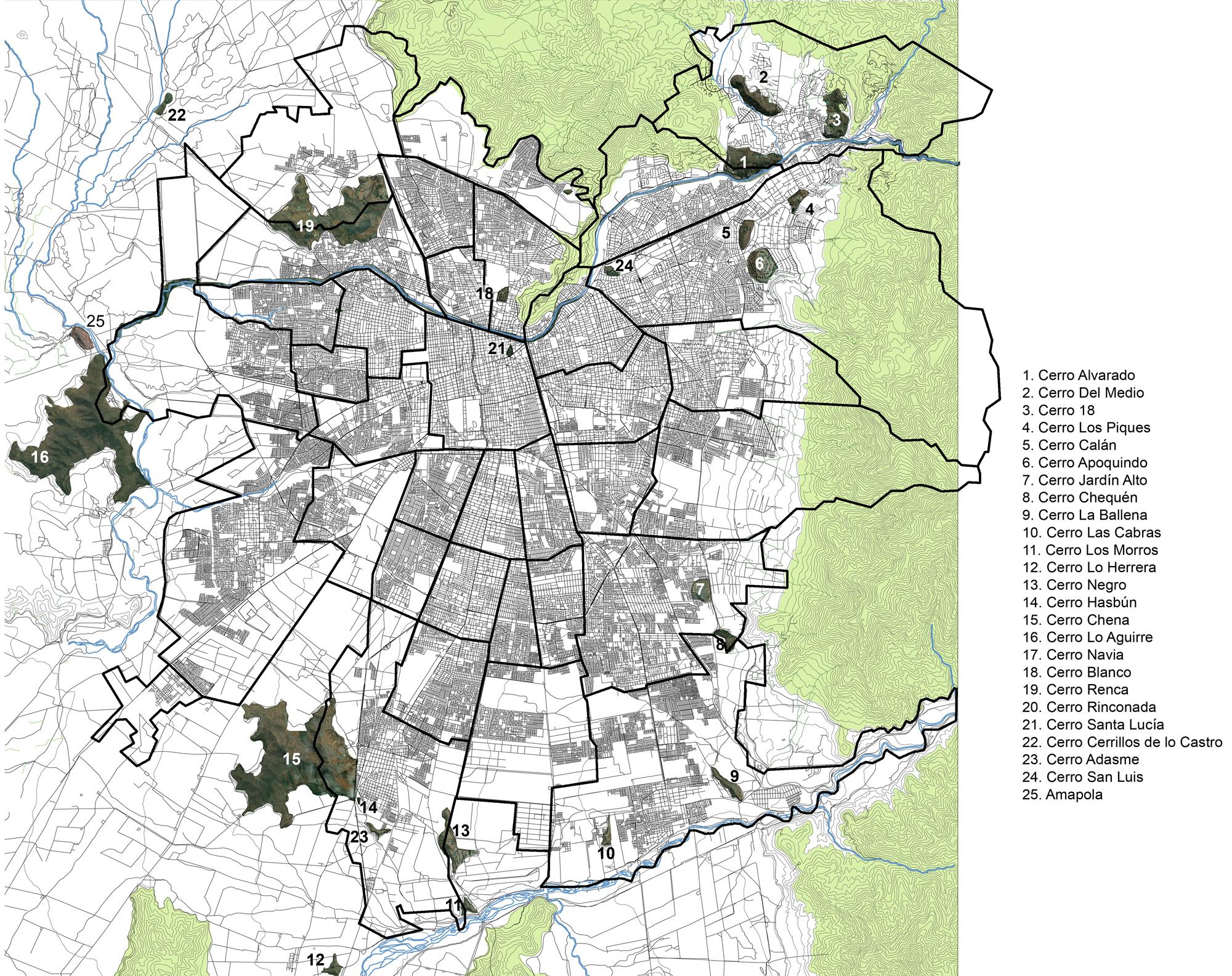 mapa cerros nombres + comunas - Plataforma Urbana