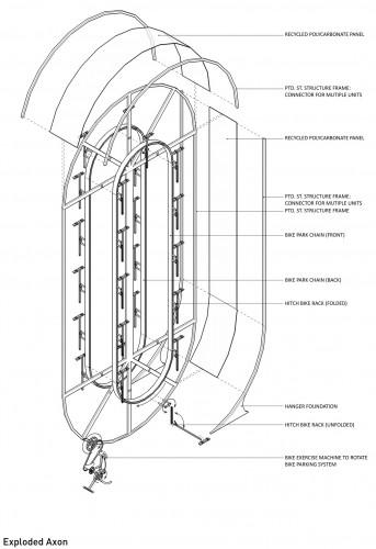 esta propuesta de urbanos para bicicletas tiene como materiales principales el acero inoxidable reciclado y materiales a