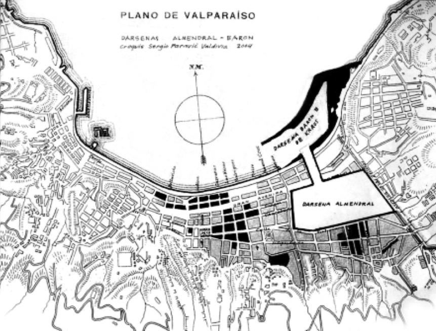 Reinterpretación del proyecto de dársena interior en El  Almendral (Paravic, S.; 2006) en Texidó, Alberto. Dibujo y Construcción: Espacios de producción portuaria ante la modernidad emergente, Valparaíso 1854-1930. Tesis de Doctorado (en desarrollo), FADEU UC 2011.