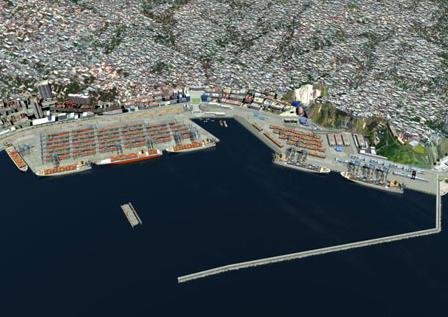 El proyecto de ampliación del Termninal 2, ensanche del Espigón Prat hacia el oriente. Fuente EPV.