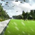 © Danilo Martic Vukasovic y colaboradores,  Proyecto Parque Huapi, primer lugar. Cancha de palín