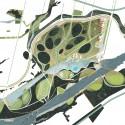 © Danilo Martic Vukasovic y colaboradores,  Proyecto Parque Huapi, primer lugar. Plano aéreo
