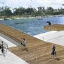 © San Martín y Pascal, Proyecto Sitio Vivo, segundo lugar. Terrazas del río y puente de viento