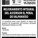 Licitación Proyecto Mejoramiento Integral del Ascensor El Peral de Valparaíso