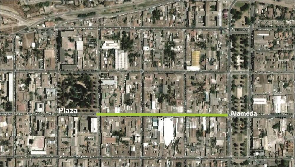 En verde, el Paseo Peatonal entre la Plaza y la Alameda