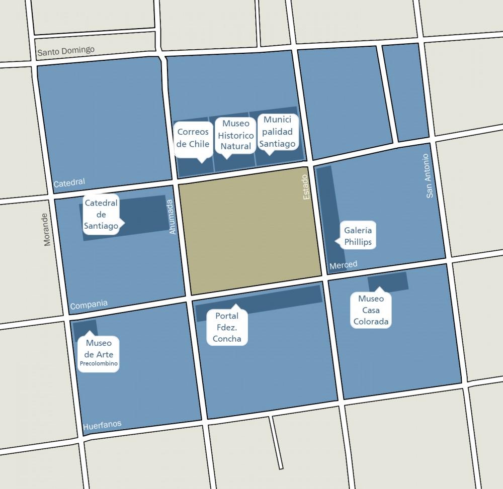 Plano referencia Plaza de Armas © Plataforma Urbana
