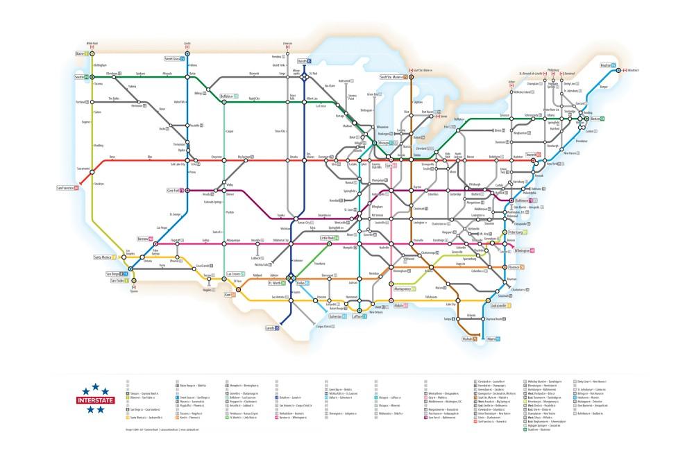 Plano de conexión entre los estados de EEUU usando la gráfica de los mapas del Metro