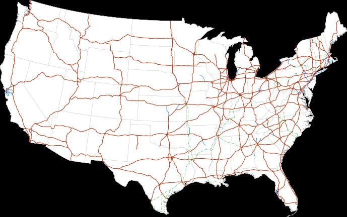 Imagen actual del sistema de carreteras en EEUU