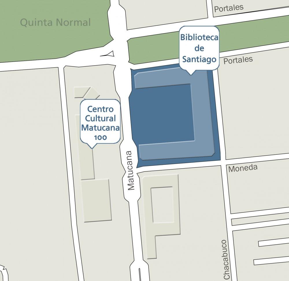 Plano de Ubicación Biblioteca de Santiago © Plataforma Urbana