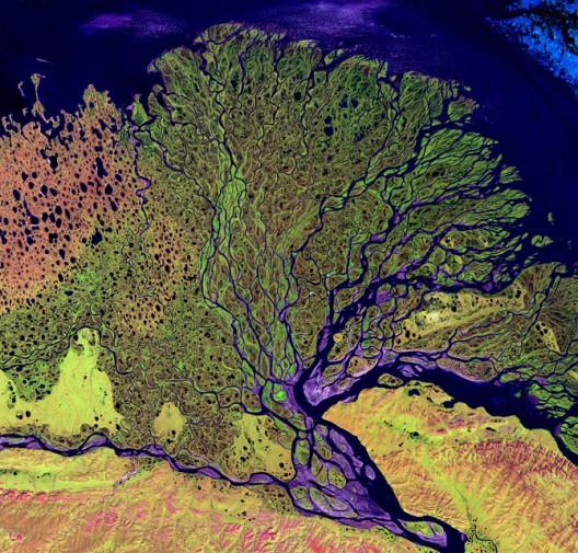 Fotografía satelital de ríos. Vía wired.com