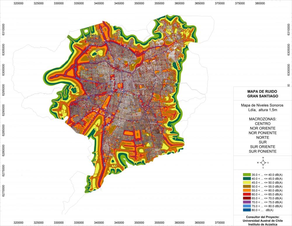 Mapa de Ruido del Gran Santiago realizado por la Universidad Austral de Chile. Vía mma.gob.cl