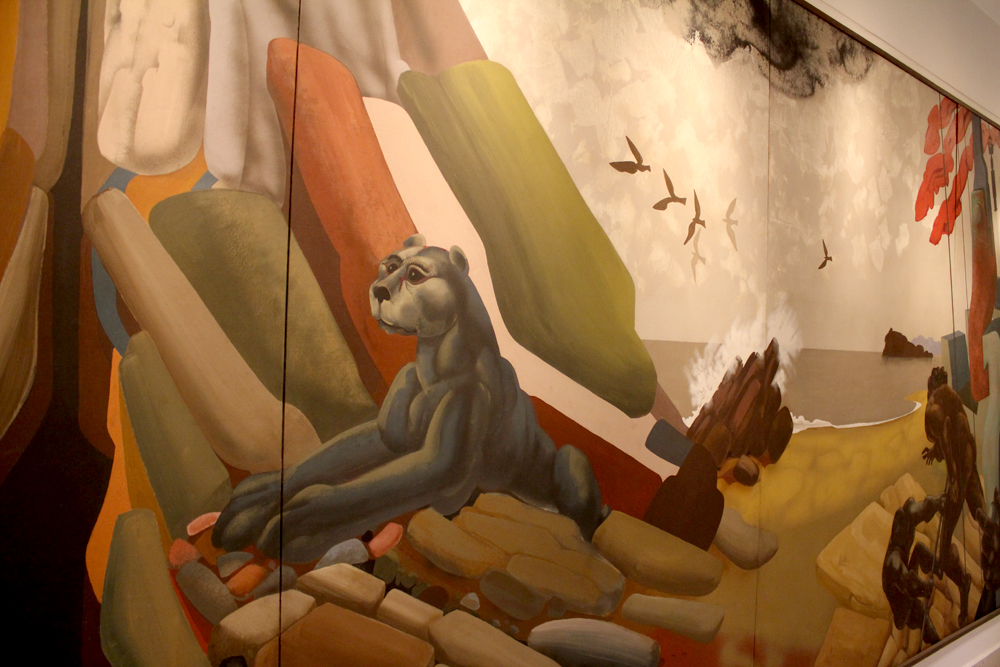 "Detalle de Obra ""Chile"" de Jose Venturelli (obra rescatada de edificio original) © Plataforma Urbana."