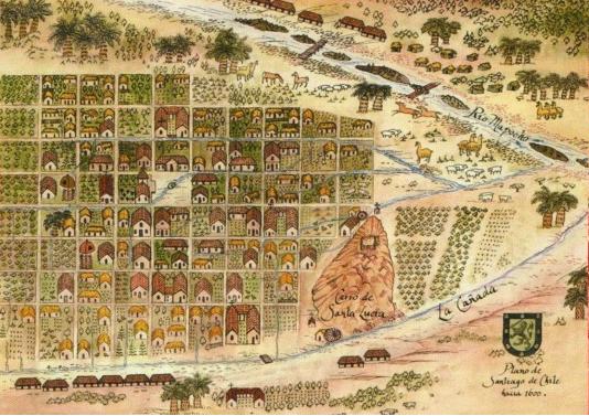 Antiguo mapa de Santiago de Chile siglo XVI