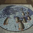 Mosaico en calle Ernesto Pinto Lagarrigue. © Plataforma Urbana.