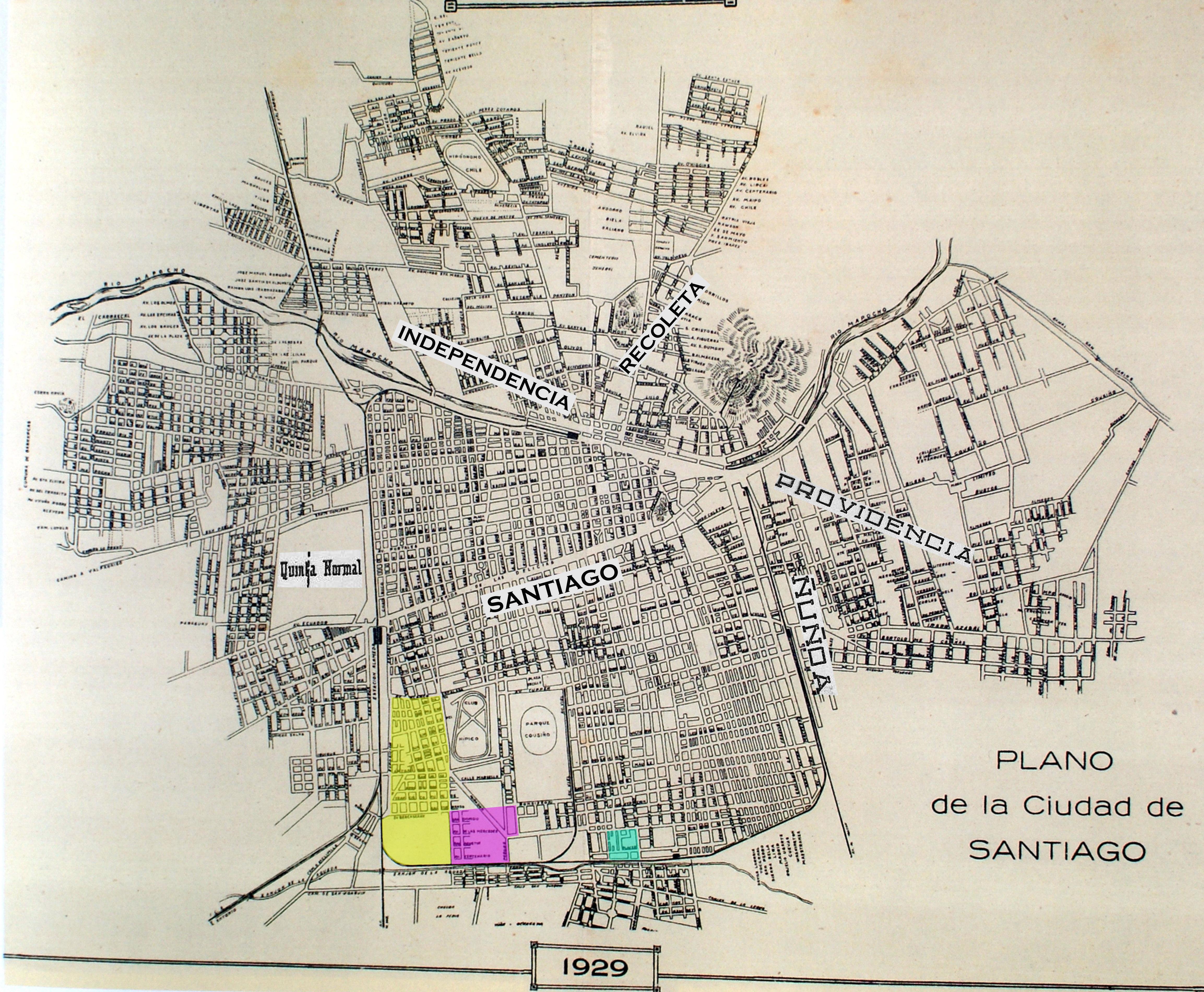 Mapa de calles de santiago de chile for Mapa de santiago de chile