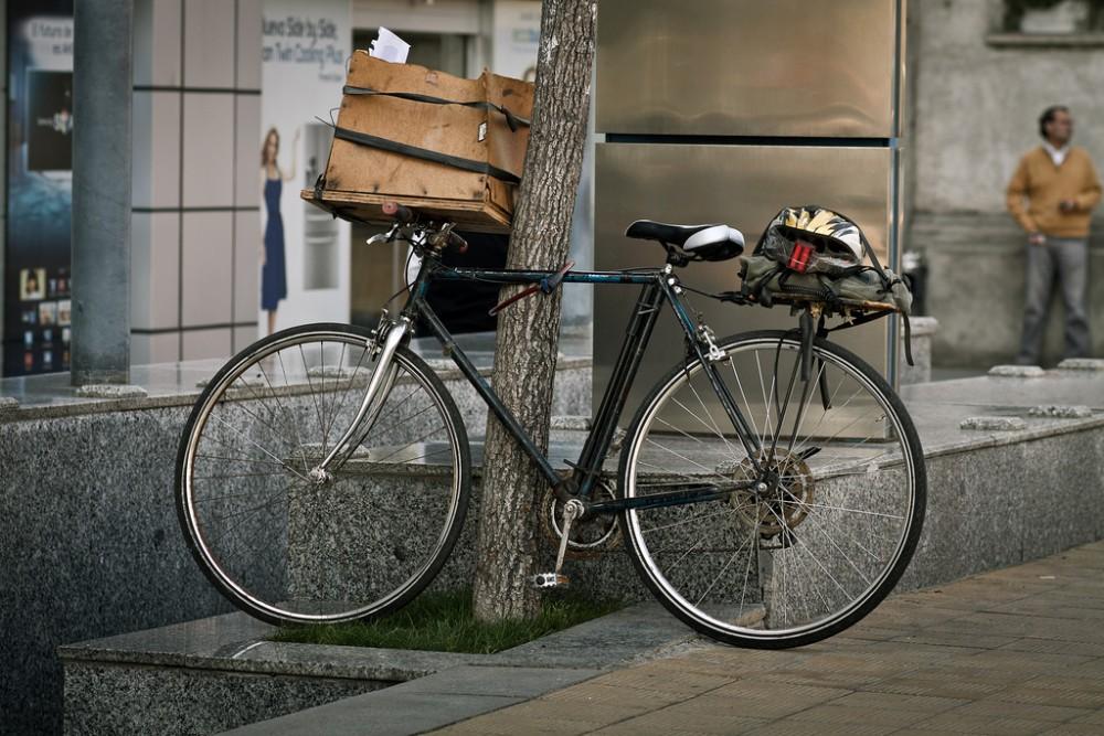 La bici del mensajero chileno