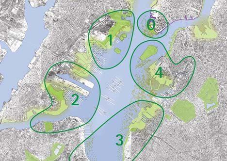 """Zonas vulnerables para ser rediseñadas exhibidas en """"Rising Currents"""". Las que efectivamente sufrido graves daños debido a Sandy"""