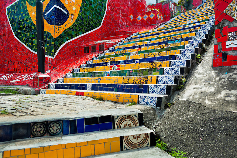 Selaron's Stairs, a mosaic tile stairway in Rio de Janeiro, Brazil