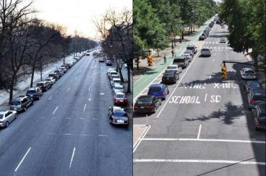 Antes y después del Prospect Park West. El tamaño correcto para todos (Crédito de la imagen: NYC DOT)