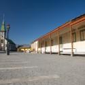 La Plaza Urmeneta y la huella de los rieles.