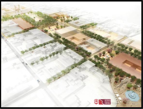 Ilustración 5Conceptual de Intervención Andador peatonal 20 de Noviembre, Centro Histórico (Fuente Plan Maestro Distrito Central Zapopan)