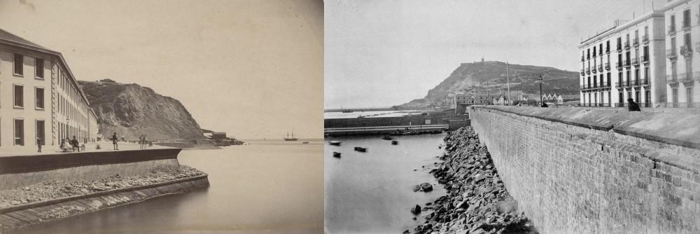 Almacenes Fiscales 1861, Valparaiso por Oliver, William Letts y Murallas del Puerto de Barcelona 1865, autor s/i.