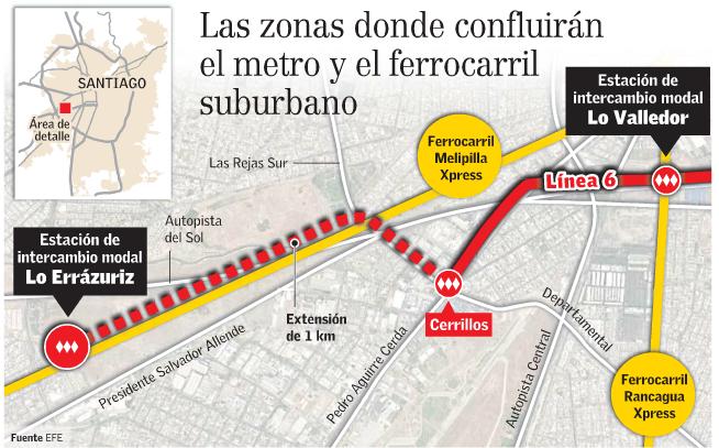 nueva estación Lo Errázuriz línea 6 Metro Santiago