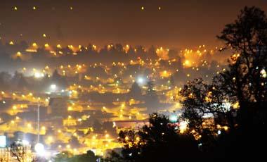 Vista panoramica de la concentración de Smog en el centro de Temuco
