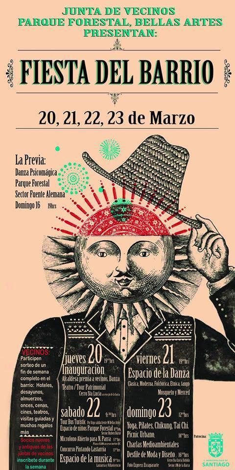 Afiche Fiesta del Barrio Lastarria y Bellas Artes