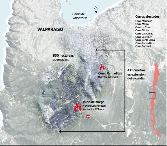 Cerros afectados incendio Valparaíso