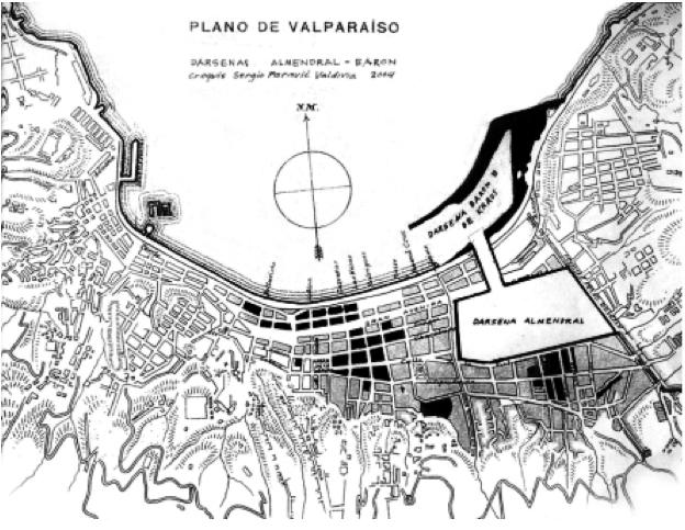Imagen 3. Reinterpretación del proyecto de dársena interior en El  Almendral, propuesto semanas después del terremoto de 1906 y desechado pocos meses después. Demuestra las necesidades de infraestructura mercantil  por sobre los intereses de mejoramiento urbano, que luego privilegiaron el Plan de Reconstrucción (Paravic, S.; 2006).
