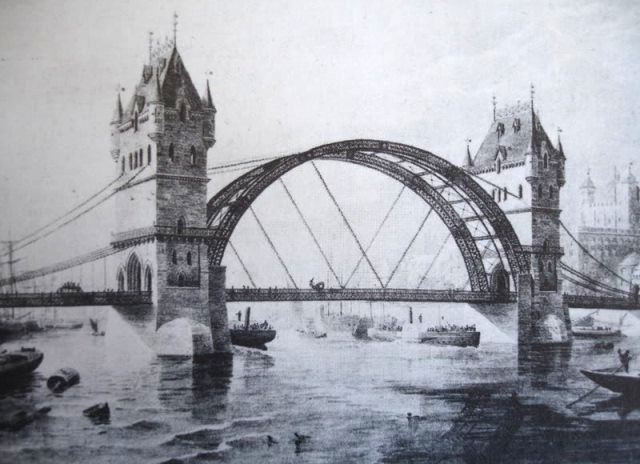 Tower Bridge alternativo para Londres, diseñado por Horace Jones