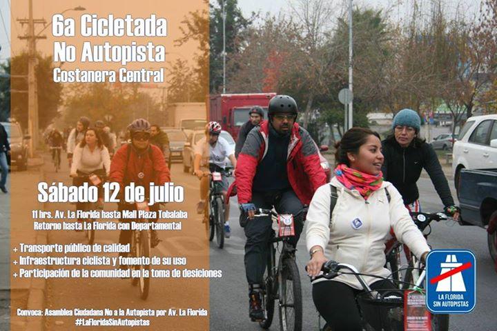 Afiche 6ta Cicletada No Autopista Central