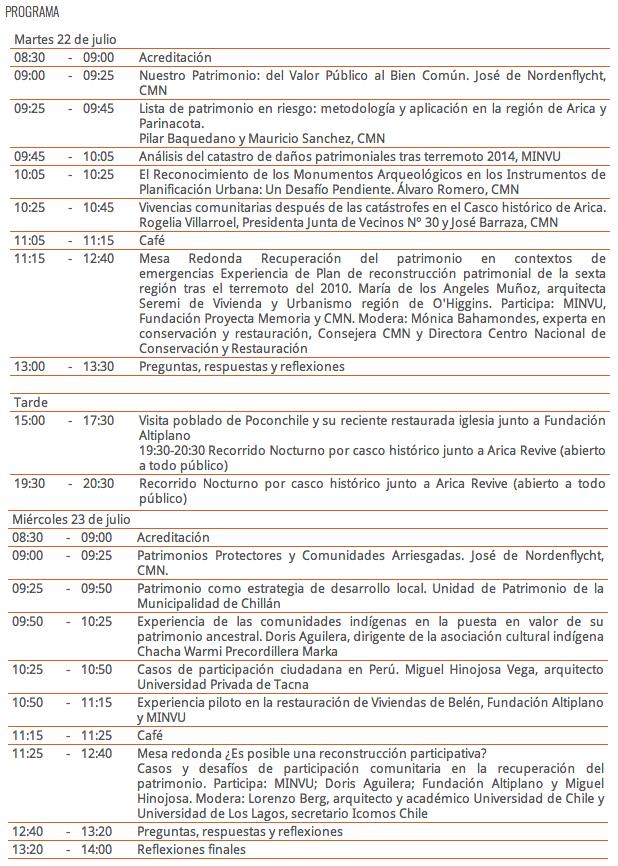 Programa III Seminario Dia del Patrimonio en Arica. Haz click para agrandar.